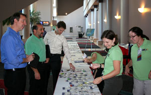 Picture of the registration table at the Labs21 2010 Annual Conference