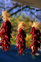 Picture of three chile ristras