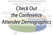 Blurred pie chart with the words Check Out the Conference Attendee Demographics